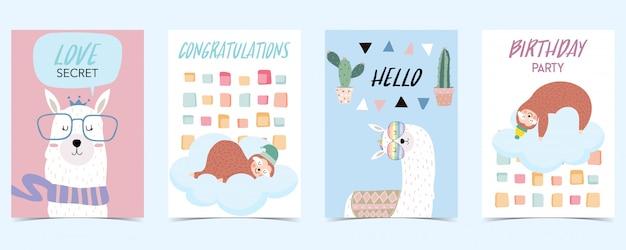 Pastellkarte mit lamas Premium Vektoren