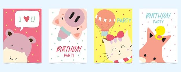 Pastellkarte mit schwein, katze, fuchs, flusspferd Premium Vektoren