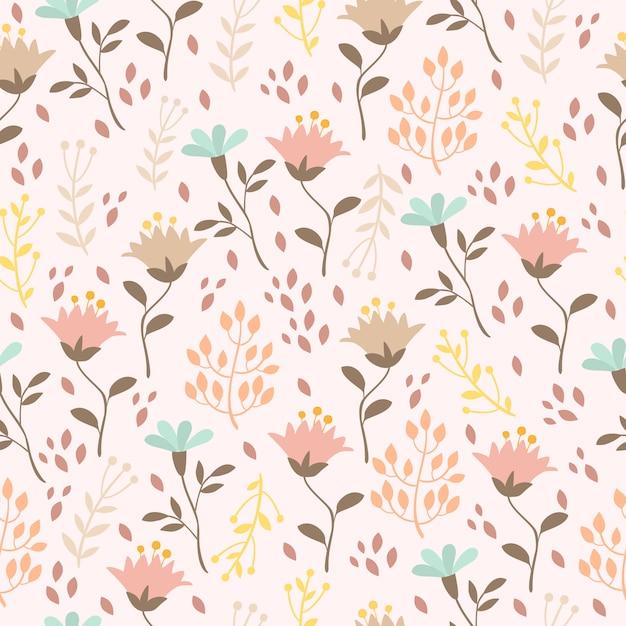Pastellmuster mit pflanzen und blumen Kostenlosen Vektoren