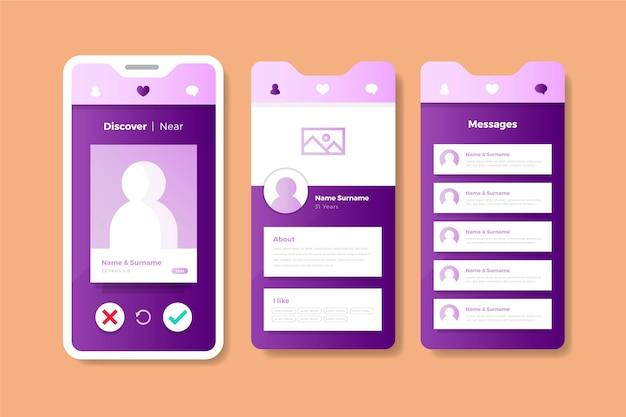 Pastellrosa und violett dating app-oberfläche Kostenlosen Vektoren