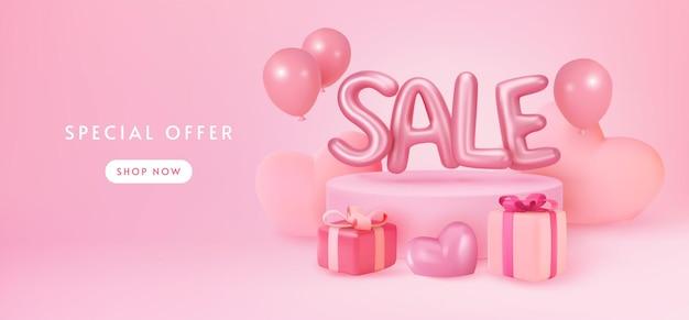 Pastellrosa verkaufsfahnenanzeige mit geschenken und luftballons Premium Vektoren