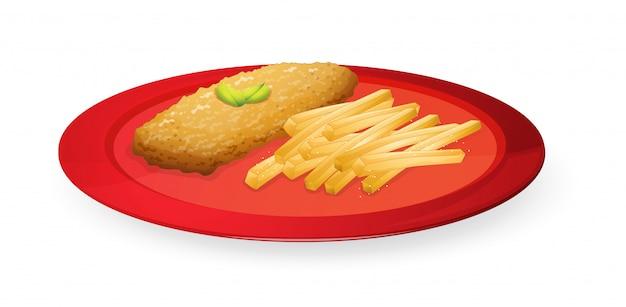 Patice und pommes in der platte Premium Vektoren
