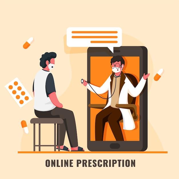 Patient, der online-checkup vom doktormann im smartphone mit medikamenten auf hellorangeem hintergrund hat. Premium Vektoren