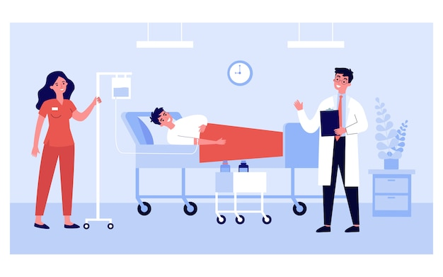 Patient im bett erhält intensive therapie im krankenzimmer Premium Vektoren