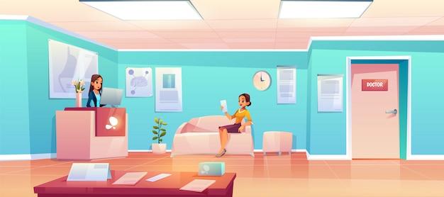 Patient im wartezimmer des krankenhauses Kostenlosen Vektoren