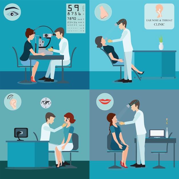 Patient und doktor set. Premium Vektoren