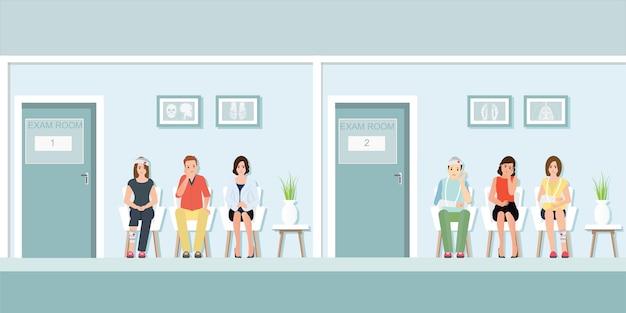Patienten, die auf doktor am vorderen prüfungsraum warten. Premium Vektoren