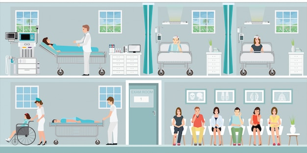 Patienten und arzt im krankenhaus. Premium Vektoren