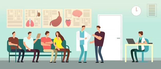 Patienten und doktor im krankenhauswarteraum. menschen mit behinderungen in der arztpraxis. gesundheitswesen-vektor-konzept Premium Vektoren