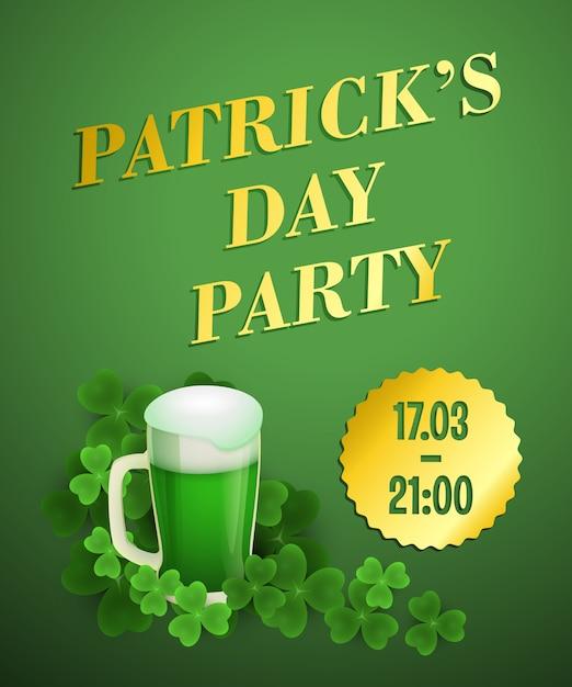 Patricks-tagesparteigrün-einladungsdesign Kostenlosen Vektoren