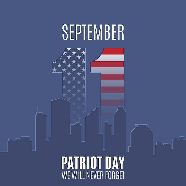Patriot day hintergrund mit abstrakter stadtskyline. 11. september, nationaler gedenktag. Premium Vektoren