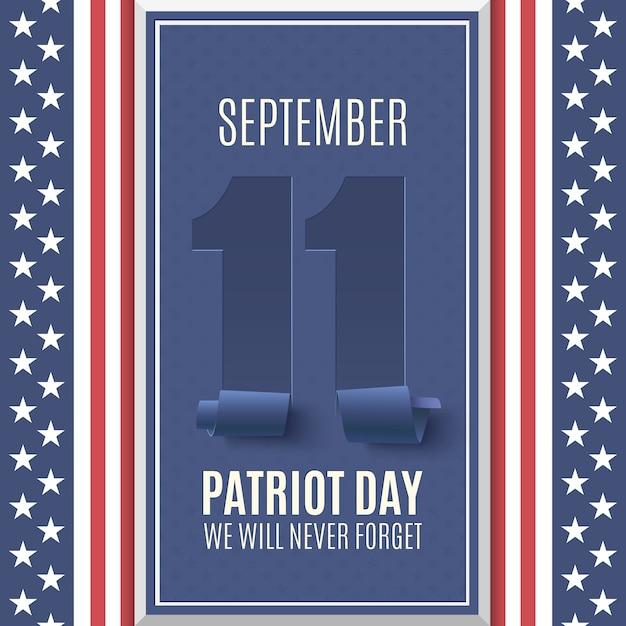 Patriot day hintergrund oben auf abstrakte amerikanische flagge. , nationaler tag der erinnerung. illustration. Premium Vektoren