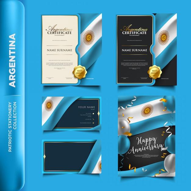 Patriotische briefpapiersammlung argentiniens Premium Vektoren