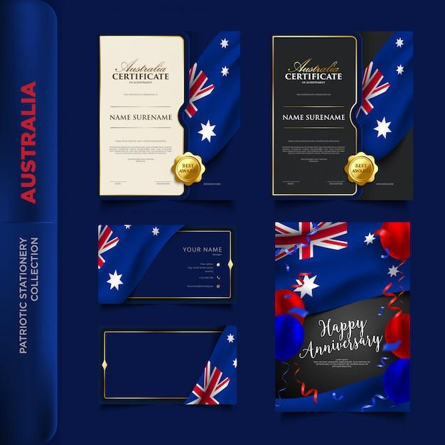 Patriotische briefpapiersammlung australiens Premium Vektoren