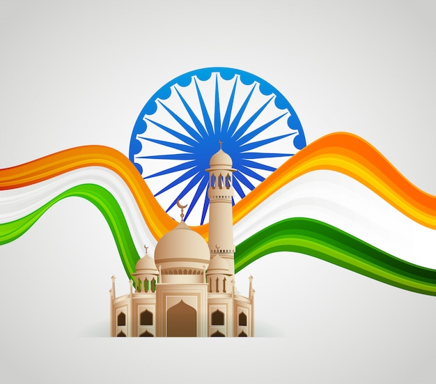 Patriotische embleme indiens, unabhängigkeitstag Premium Vektoren