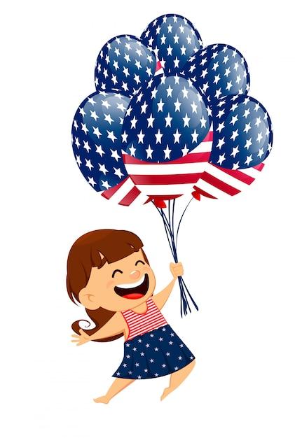 Patriotisches lächelndes mädchen, das luftballone hält Premium Vektoren