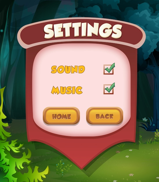 Pausenmenüszene erscheint mit soundmusik und knöpfen. spiel im vollständigen menü Premium Vektoren