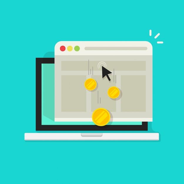 Pay per click oder interneteinkommen geld Premium Vektoren