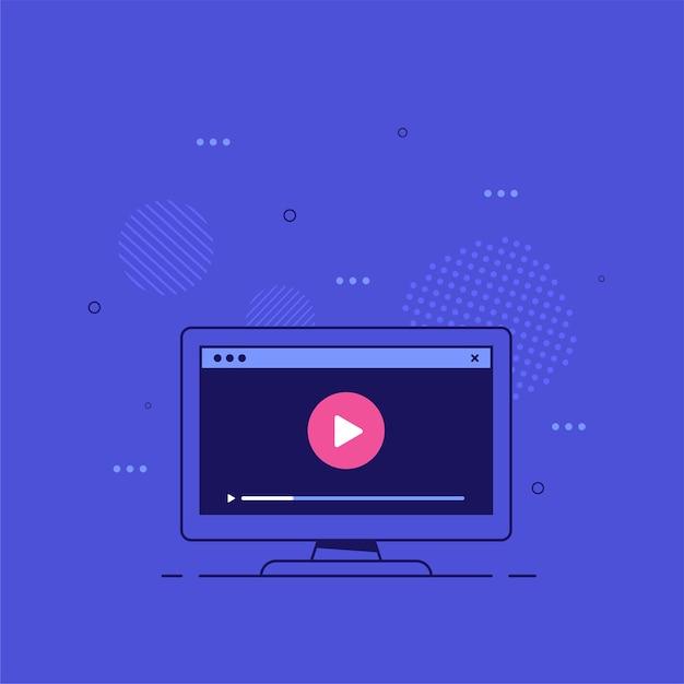 Pc-monitor mit videoplayer auf dem bildschirm. online-video, filme, lehrmaterialien, webkurse s. Premium Vektoren