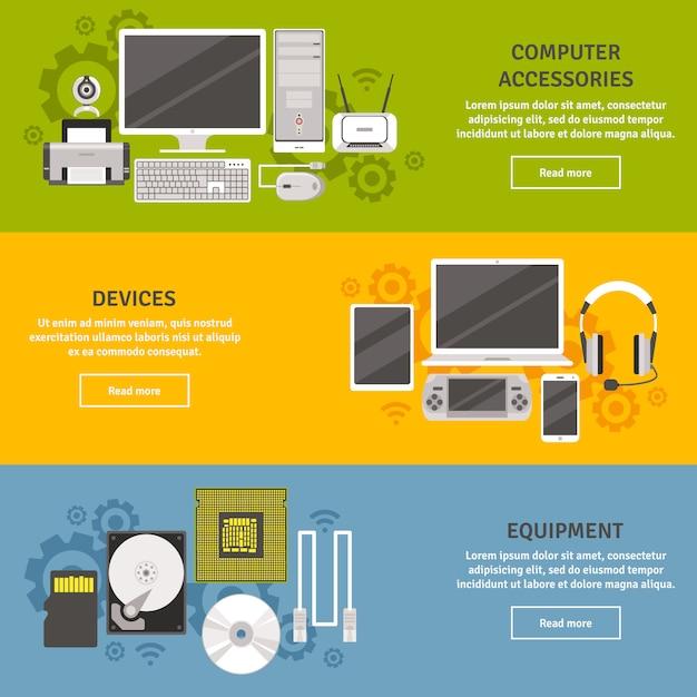 Pc- und computerausrüstung mit flachen fahnensatz der geräte und des zubehörs lokalisiert Kostenlosen Vektoren