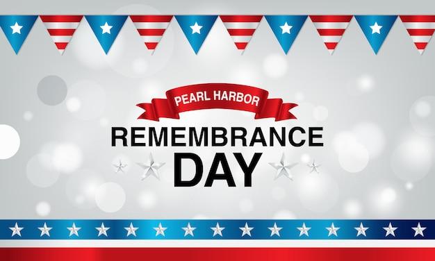 Pearl harbor erinnerungstag hintergrund mit krawatte und flagge der amerikanischen flagge Premium Vektoren