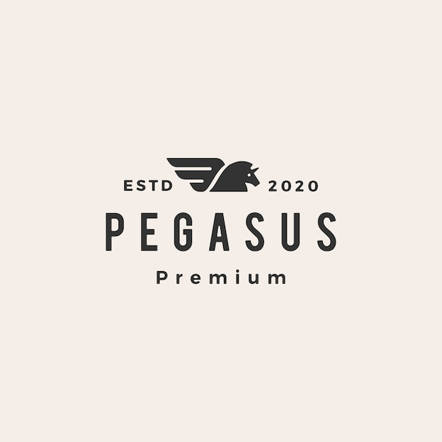 Pegasus einhorn pferd hipster vintage logo symbol illustration Premium Vektoren