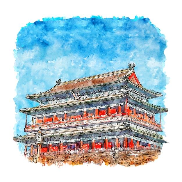 Peking tempel china aquarell skizze hand gezeichnete illustration Premium Vektoren
