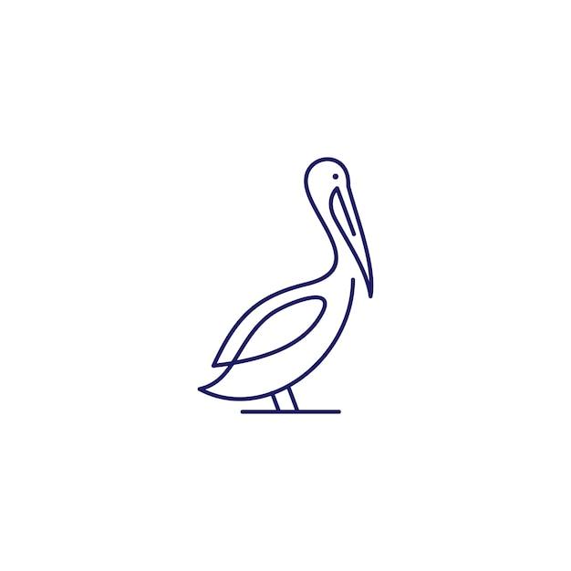 Pelikan-golfvogelküstenstrandlogo-vektorikonenillustration Premium Vektoren