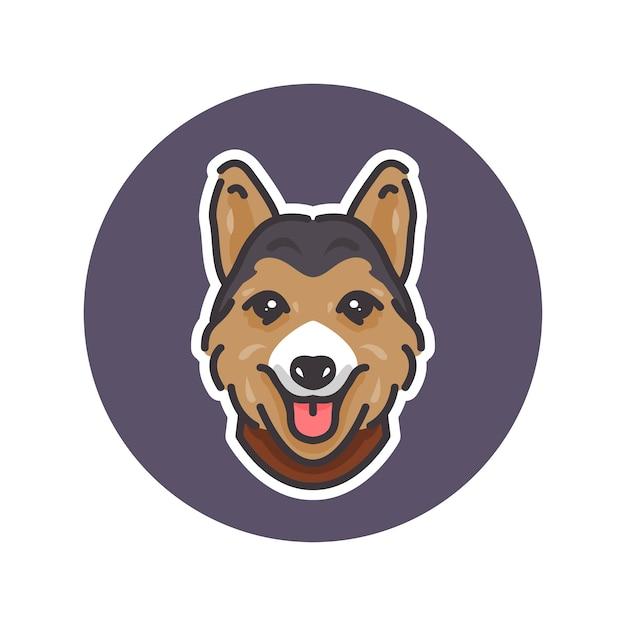 Pembroke welsh corgi hundemaskottchenillustration, perfekt für logo oder maskottchen Premium Vektoren