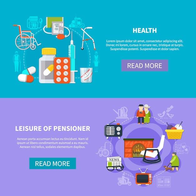 Pensionär flache banner set Kostenlosen Vektoren