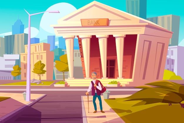 Pensionskasse, bank sparen geld cartoon-konzept Kostenlosen Vektoren