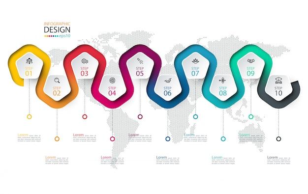Pentagon-etikett mit farbigen linien verknüpften infografiken. Premium Vektoren