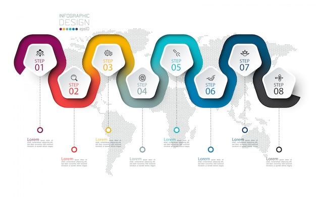 Pentagon-etikett mit farbigen linien verknüpften infografiken Premium Vektoren