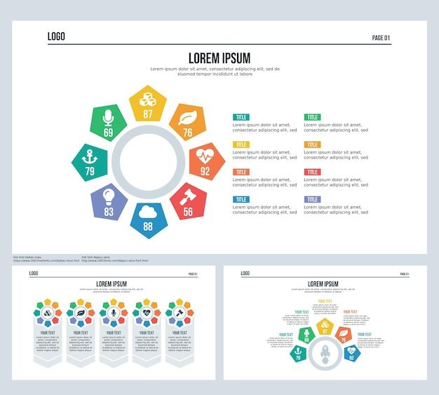 Pentagonal Rotation Infographik Element Set Präsentation Folie und ...