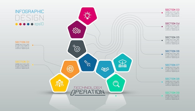 Pentagonschablone infographic auf vektorkunst. Premium Vektoren