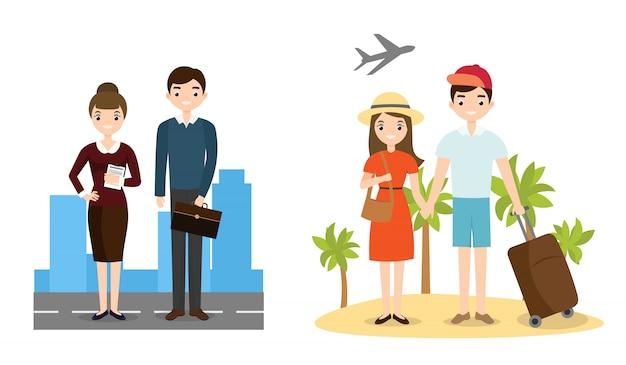 People business und aktiver lifestyle-charakter Premium Vektoren