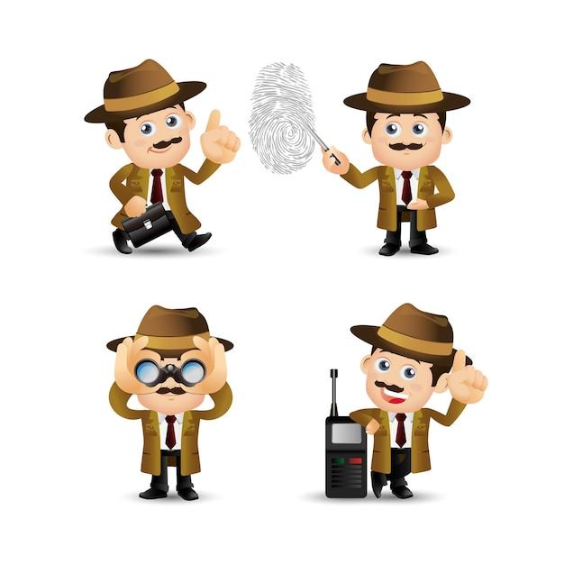 People set - beruf - detektiv Premium Vektoren