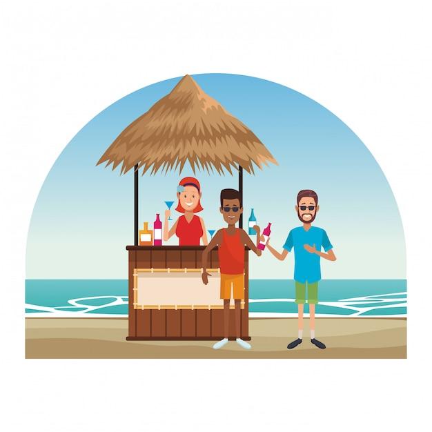 Peoplea am strandkiosk Premium Vektoren