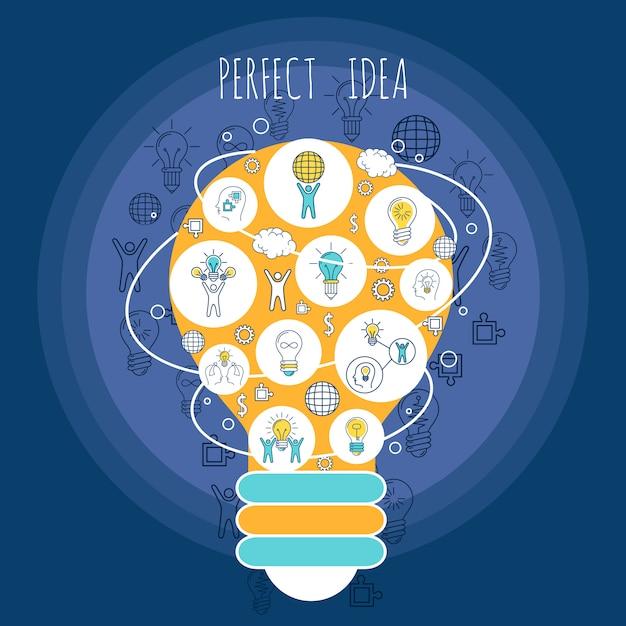 Perfekte ideenillustration mit elementzusammensetzung Kostenlosen Vektoren