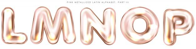 Perl rosa folie blies alphabetsymbole, lokalisierte buchstaben lmnop auf Premium Vektoren