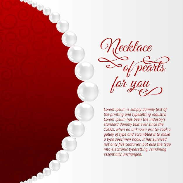 Perlenkette auf rot. Kostenlosen Vektoren