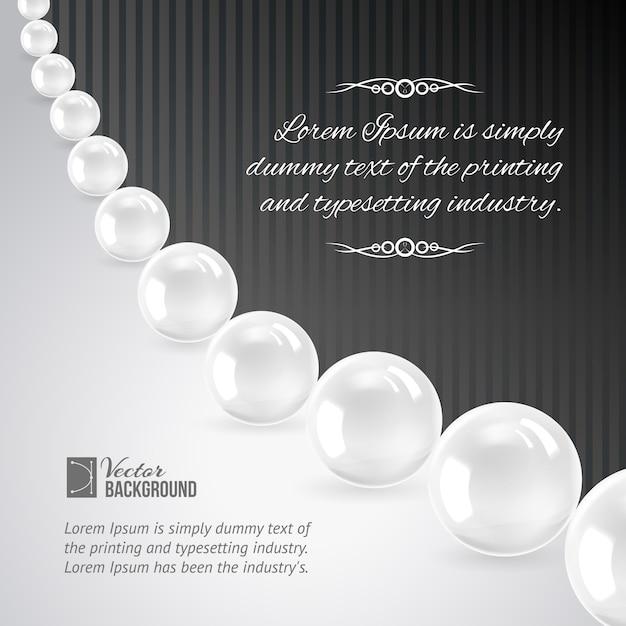 Perlenkette auf schwarz. Kostenlosen Vektoren
