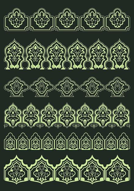 Persische dekorative blumenränder mit abstrakten üppigen blumen und traditionellen orientalischen dekorativen elementen für text- oder seitendesign Premium Vektoren