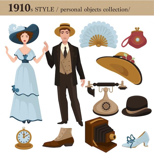 Persönliche gegenstände des mannes und der frau des modestils 1910 Premium Vektoren