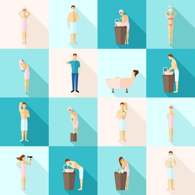 Persönliche hygiene-flache ikonen eingestellt Kostenlosen Vektoren