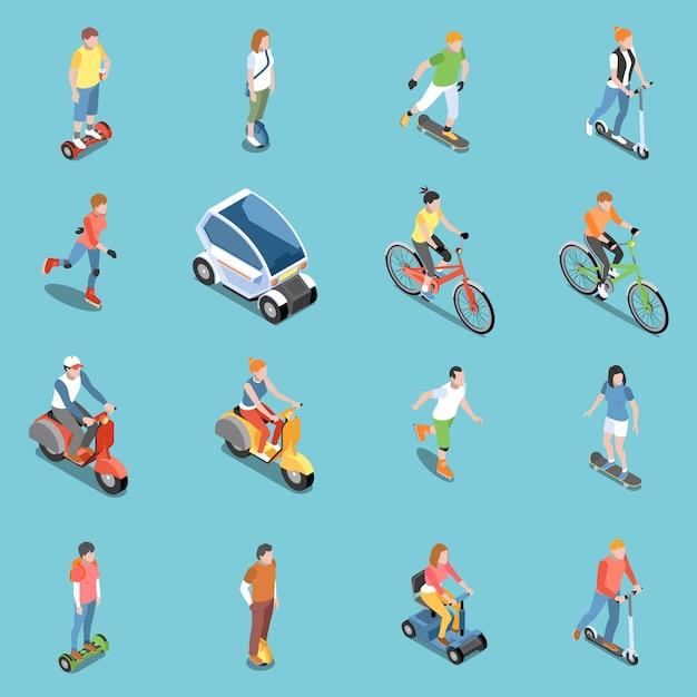Persönliche öko-transportikonen, die mit fahrrad- und roller isometrisch isoliert eingestellt werden Kostenlosen Vektoren