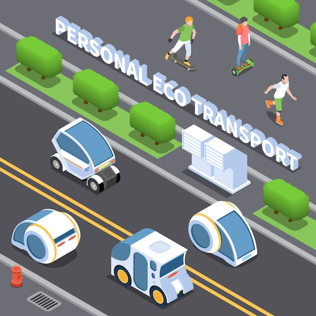 Persönliche öko-transportillustration mit elektroautosymbolen isometrisch Kostenlosen Vektoren