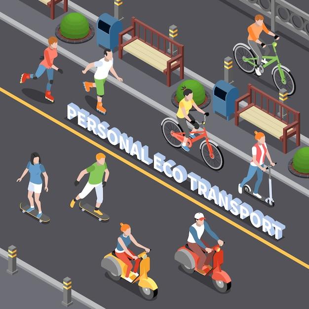 Persönliche öko-transportzusammensetzung mit isometrischen symbolen für die persönliche mobilität Kostenlosen Vektoren
