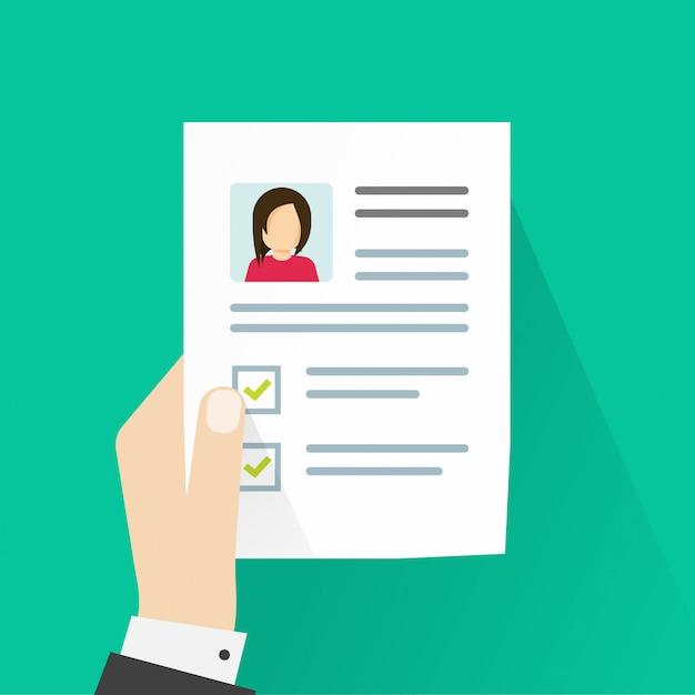Persönliche profilinformationen oder lebenslaufdokument auf papierbogen Premium Vektoren