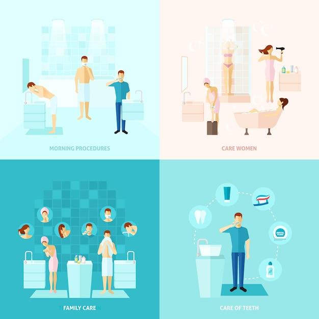 Persönliche und familienpflege-ikonen eingestellt Kostenlosen Vektoren